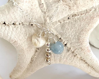 """Sterling Silver Aquamarine, Freshwater Pearl, 18"""" Chain Necklace with Sterling Silver Bead Drop Accent"""