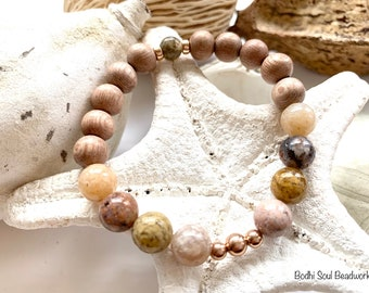 Ocean Jasper and Rosewood Mala Bracelet with Rose Gold Filled Accents, Positivity, Optimism, Protection, Manifestation, Crystals