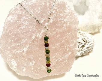 Fancy Jasper Layering Necklace, 18' Sterling Silver Ball Chain, Crystal Necklace, Gemstone Necklace, Crystal Jewelry, Spiritual Gifts