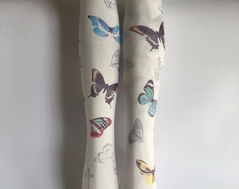 White Printed Multicoloured Butterfly Tights, Stockings, Pantyhose One Size