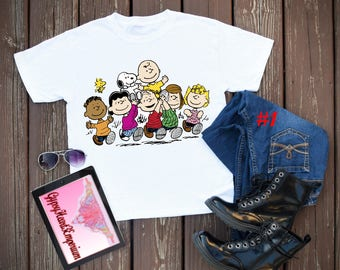 be5c4ae99 Charlie Brown, Snoopy and the Gang Top, Peanut's Gang T-Shirts, Charley  Brown Crop and Tank Top, Snoopy Tank Top, Peanut Gang Tee