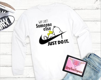 0b44c5b71 Adult T-Shirt, Snoopy T-shirt, Whimsical T-Shirt, Snoopy Just Do It T-Shirt,  Women Clothing, Men T-Shirt