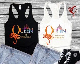 Queen of Everything Razorback Tee, Queen of Everything Crop Top, Sports Tank Top, Queen Sports Tee, Queen of Everything Sleeveless T-Shirt