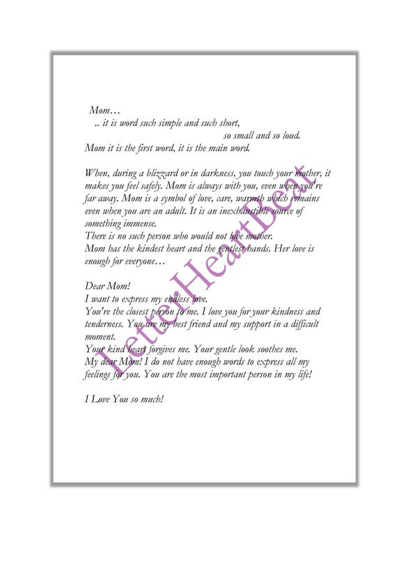 Love Letter Poem Mother Day Thank You Letter Paper Letter Etsy