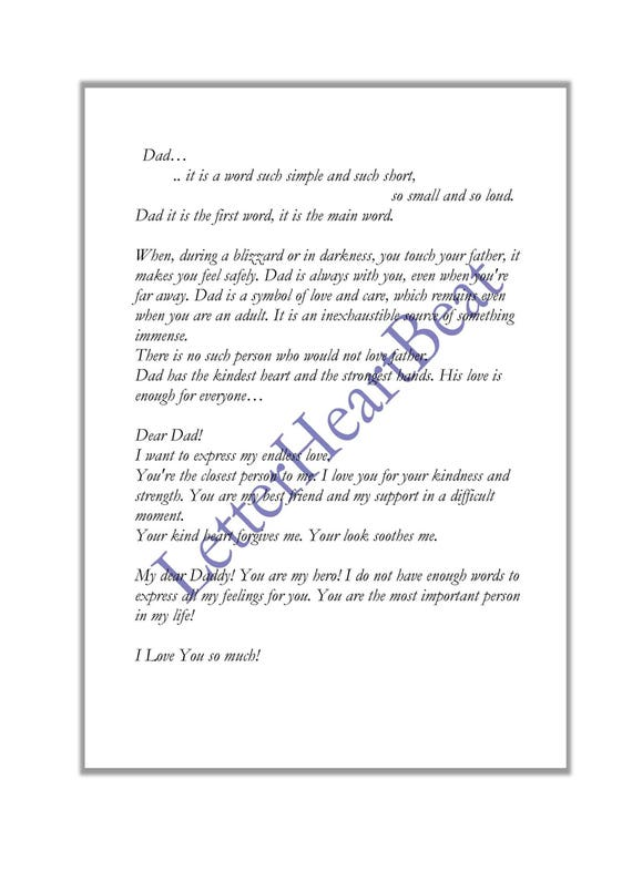 Love letter Poem Fathers day Thank you letter Romantic letter Instant  Download