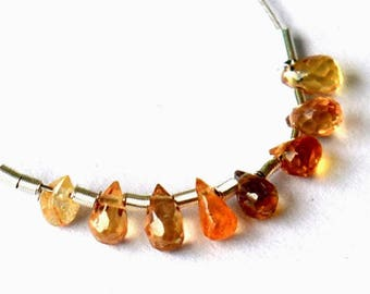 Beautiful set of 8 small Sapphire briolettes yellow orange