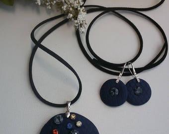 Blue polymer clay jewelry set.