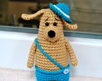 Dog, knitting toy, amigurumi, crocheted toy, interior toy, knitted dog