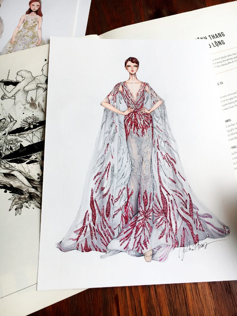 ORIGINAL ILLUSTRATION Ziad Nakad Haute Couture 2016 | Etsy