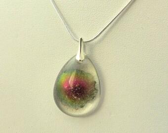 Drop transparent cosmos Nebula necklace resin