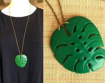 """Necklace tropical necklace - leaf exotic """"Monstera"""" XL - polymer clay"""