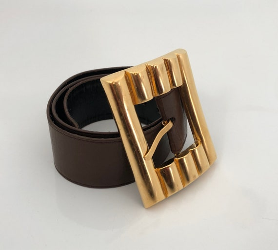 Karl Lagerfeld Vintage Belt / Large Gold Belt Buck