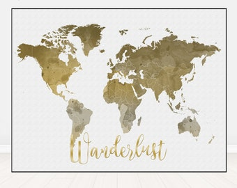 World map - World map print - World map art -  World map watercolor - World map pastel - Map gift decor - home decor MapiPoster - World map