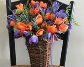 Spring Door Basket Purple Door Basket Summer Front Door Basket Summer Wreath Flower Basket Wall Basket Hanging Basket Tulip Spring Basket