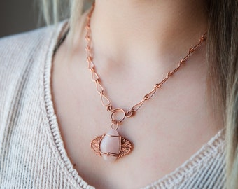 Angel Fish Wire-Wrapped Pink Stone Necklace