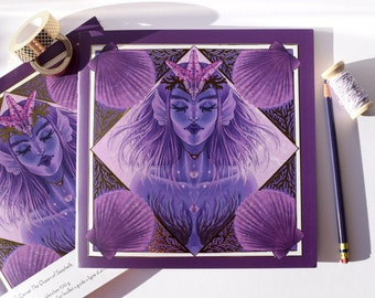 21 x 21 square notebook purple with gold foil bullet journal sketchbook notebook mermaid The Queen of seashells Marylou Deserson