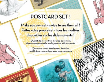 Postcard set - 16 models to choose from- fancy mermaid, Alice, Medusa, geisha, tiger - high quality print by Marylou Deserson
