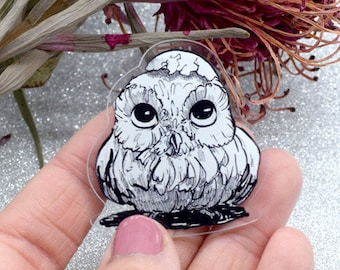Pin cute little owl black and white acrylic