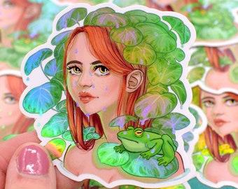holographic vinyl sticker Ophelia water lilies - Lilypad DTIYS
