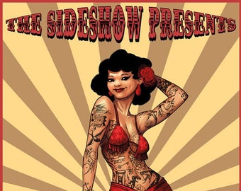 Art print A4 displays The tattooed woman and the lioness, red and yellow, freakshow cabinet of curiosity circus vintage