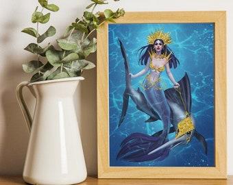 Art print A5 with gold foil The Mermaid and the swordfish - Aglaopheme Aglaope Nordic mythology ocean Mermay