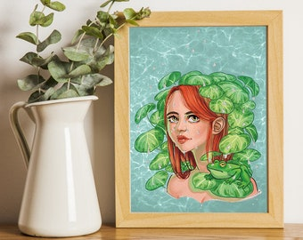 A5 printing in turquoise, green and orange silver finish aquatic atmosphere girl with water lilies Ophelia - DTIYS by Lord Gris Lilyredraw