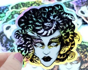 Holographic vinyl sticker or simple rectangular Medusa Greek Mythology Gorgon design by Marylou Deserson