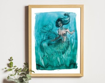 A4 Turquoise and Green Watercolor Mermaid art print - Aglaophemus, Aglaopé, Norse Mythology, Ocean, High Quality Mermay Paper