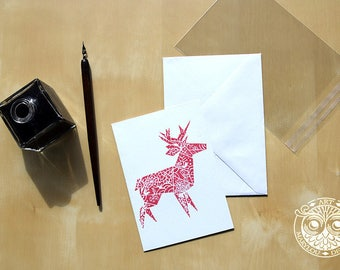 Greeting card - reindeer Origami - red - A6 - printed by hand