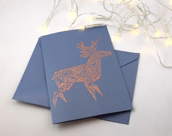 Greeting card - reindeer Origami - copper & blue - A6 - printed by hand