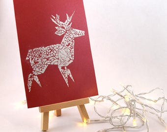 Greeting card - reindeer Origami - red & white - A6 - printed by hand