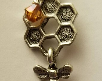 "Bee Pendant, Charm, Honeybee, Honeycomb, Jewelry, Neckalce / Chain Not Included, Bee Charmer, Amber ""Honey"" Swarovski Crystal"