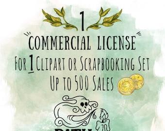 1 Commercial License for a single Clipart or digital scrapbooking set, Path Of Pixels Shop Commercial License, Single Commercial License
