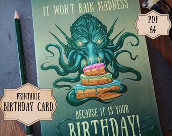 Cthulhu Birthday Card Lovecraft Nerdy Printable Geek Humor Occult Horror