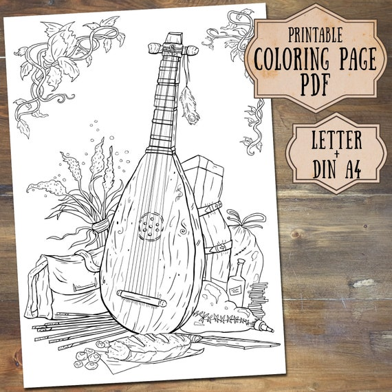 Fantasy Coloring Page, DnD inspired Medieval Bard, Printable Adult Coloring  Page, Nerdy Coloring Page, Coloring Page Download