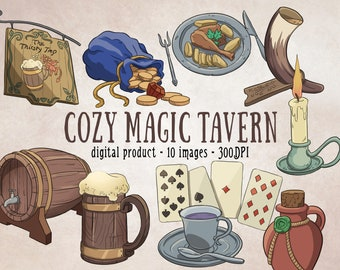 Food and Drink Clipart, Food and Drink PNG, Bar Tavern Clipart, Fantasy Food, Tankard Wood, Medieval Tavern, Medieval Fantasy PNG