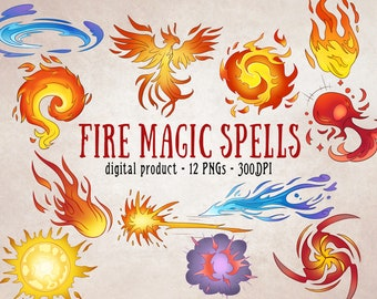 Magic Clipart, Fantasy PNG, Fire Magic, Witchy Clipart, Magic PNGs, Arts and Crafts at Home, Digital Download, Digital Scrapbooking