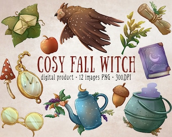 Cosy Fall Witch Clipart, Fall Clipart, Witchy Clipart, Autumn Scrapbooking, Cozy Teatime, Whimsical Fall Digital Scrapbooking, Witchy Forest