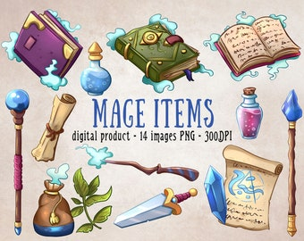 Wizard DnD Clipart, Mage Items, Wizardry Clipart, DnD Items, Mage Clipart, Magical Clipart, Spellbooks Clipart, Wizard Scrapbooking