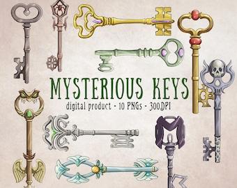 Magic Keys, Keys Clipart, Keys PNG, Key Drawing, Fantasy Keys, Keys Scrapbooking, Vintage Keys, Digital Download