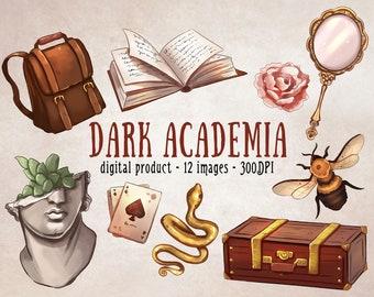 Dark Academia Clipart, Vintage Scrapbooking Set, Dark Aesthetic Clipart, Vintage Aesthetic Clipart Set, Old Academy Digital Scrapbooking