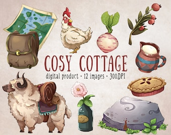Cosy Cottage Clipart, Cottage Core Aesthetic Stickers, Cute Nature Clipart, Whimsical Clipart, Cute Digital Stickers, Cottagecore Printables