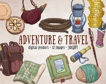 Travel Adventure Clipart, Lantern Clipart, Compass Clipart, Travel Digital Scrapbooking, Gold Coin Clipart, Adventure Fantasy