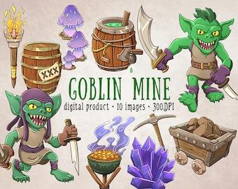 Monster Clipart, Goblin Clipart, RPG Adventure Clipart, Fantasy Tabletop Print, TTRPG, Fantasy Clipart, Goblin Mine, Crystals, PNG