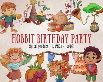 Birthday Party Clipart, Hobbit Art, Cottagecore Art, Party Clipart, Birthday Clipart, Fantasy Birthday, Fantasy Party, Party Scrapbooking
