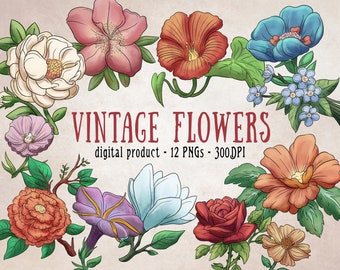 Vintage Flower Clipart, Flowers Clipart, Vintage Flower Art, Colorful Flowers, Watercolor Style, Digital Clipart
