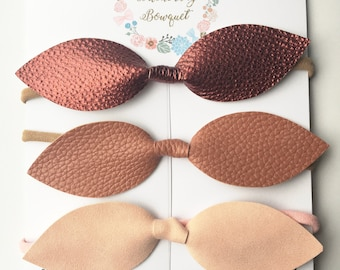 Tan leather Top Knot Headband Set