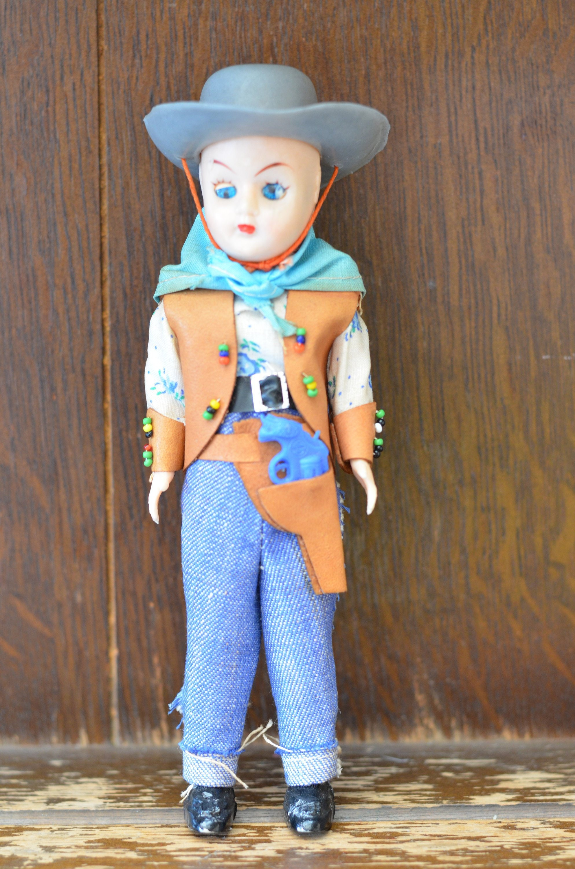 3857c3602 Fabulous VINTAGE Doll Wearing A CowBoy Outfit National Costume Dress 19cm  Tall