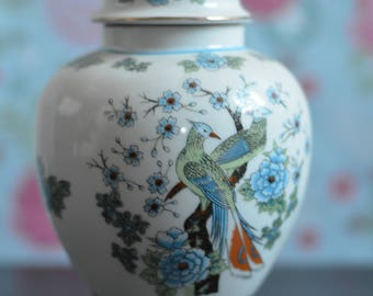 Vintage Pretty Floral and Pheasant Print Lidded Decorative China Urn Pot (A2c)