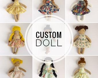 personalized heirloom cloth doll, custom rag doll, fabric doll, big sister gift, flower girl gift, baby shower gift, nursery decor